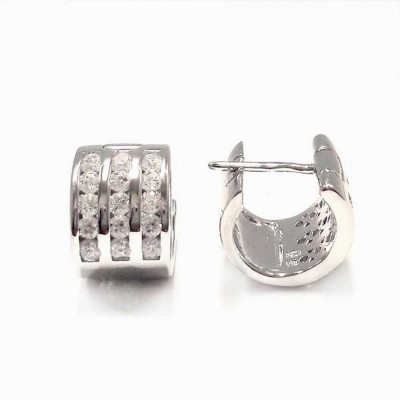 Sterling Silver Earring 10mm 3 Row Clear Cubic Zirconia Front Huggies