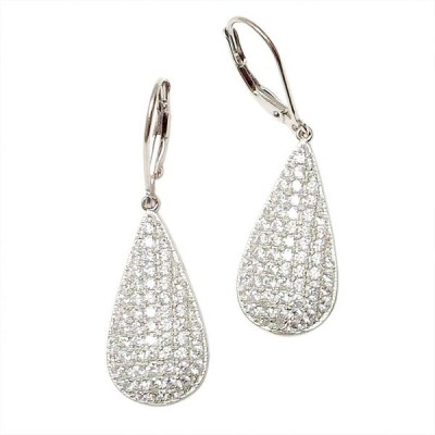 "SS Earg 1"" Teardrop Clear Cz Pave W/ Lever Back, Multicolor"