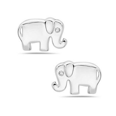 Sterling Silver Earring Plain Baby Elephant with Clear Cubic Zirconia Eye Stud