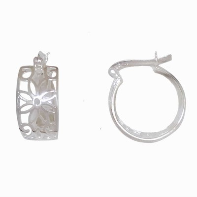 Sterling Silver Earring 17mm Plain Flower Filigree with Latch Back