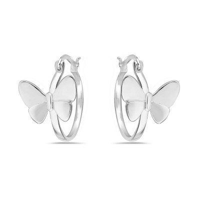 Sterling Silver Earring Plain Butterfly on Hoop with Latch Back