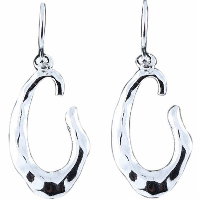 SS Earg Hammered Danglin Unclose Oval W Fish Hook, Silver