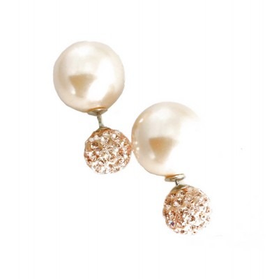 Sterling Silver Earring 10mm Peach Fireball with 15mm Brass Pearl Bac