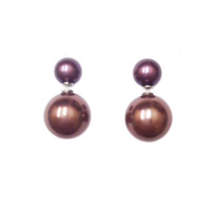 Sterling Silver Earring 10mm L.Brown Pearl with 15mm Brass Pearl Bac