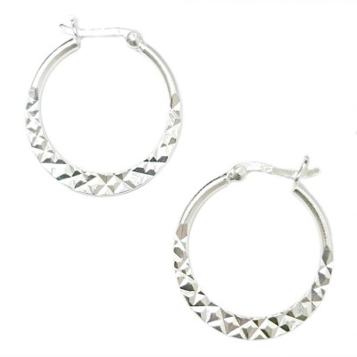 SS Earg 25Mm Half Diamond Cut Hoop W/ Latch Back, Silver