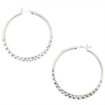 SS Earg 40Mm Half Diamond Cut Hoop W/ Latch Back, Silver