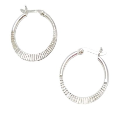 SS Earg 25Mm Half Textured Hoop W/ Latch Back, Silver