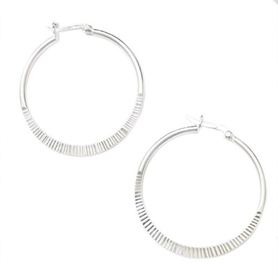 SS Earg 35Mm Half Textured Hoop W/ Latch Back, Silver