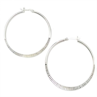 SS Earg 45Mm Half Textured Hoop W/ Latch Back, Silver