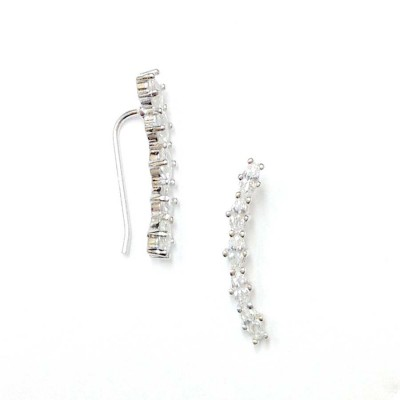 SS Earg Oval Cl Cz Stud Post And Cuff Ear Wrap, Silver
