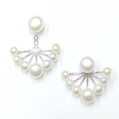 SS Earg Fresh Water Pearl Front Back Earring Stud, Silver