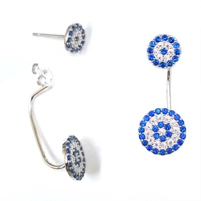 SS Earg Pave Blue & Cl Cz Evil Eye Drop Back Earg, Multicolor