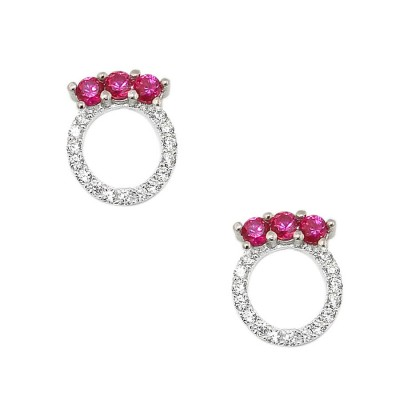 Sterling Silver Earring 3 Ruby Cubic Zirconia Top of Open Clear Cubic Zirconia Circle