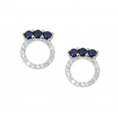 Sterling Silver Earring 3 Sapphire Gl Top of Open Clear Cubic Zirconia Circle