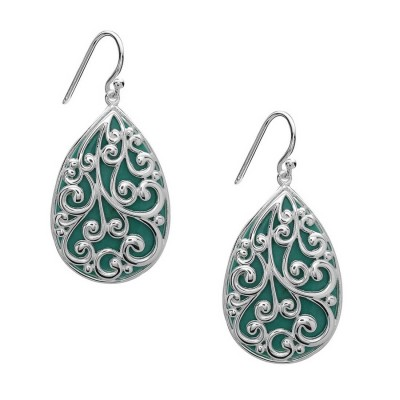 Sterling Silver Earring 29X20mm Teardrop Reconstituent Turquoise with Filigree