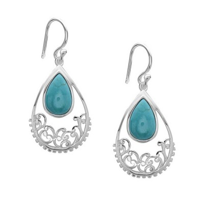 Sterling Silver Earring 24X18mm Open Teardrop with Reconstituent Turquoise