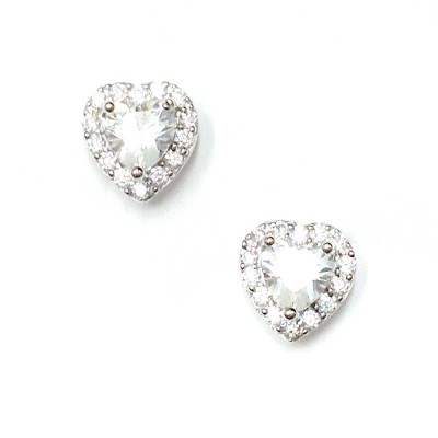 SS Earg Clear Cz Heart W/ Cl Cz Around Stud, Multicolor