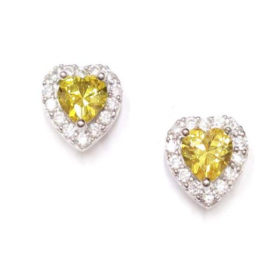 SS Earg Canary Yellow Cz Heart W/ Cl Cz Around, Multicolor