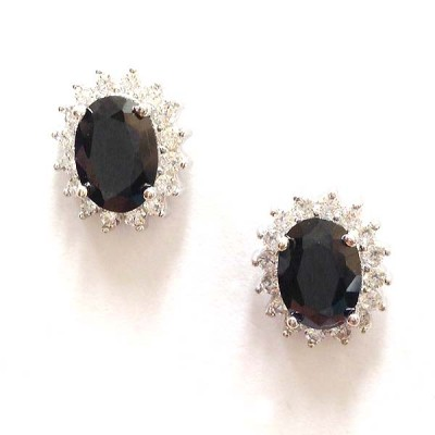 SS Earg Oval Black Cz W/ Round Cl Cz Around Stud, Multicolor