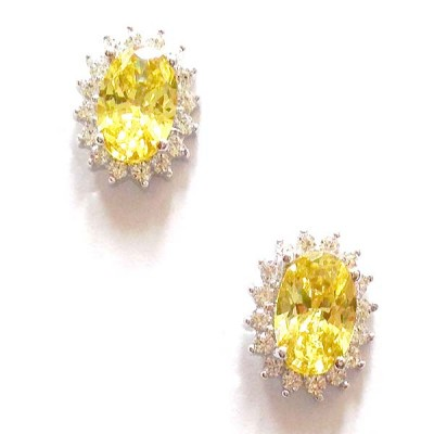 SS Earg Oval Canary Yellow Cz W/ Rd Cl Cz Ard Stud, Multicolor