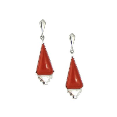 Sterling Silver Earring Dangling Triangle Cabochon Red Jasper