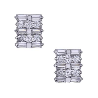 Sterling Silver Earring Rd Clear Cubic Zirconia Inbetween Clear Bagutte Cubic Zirconia