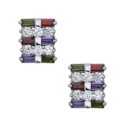 Sterling Silver Earring Olivine+Garnet +Champagne+Amethyst Baguette Cubic Zirconia with Clear Cubic Zirconia Btwn
