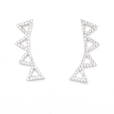 Sterling Silver Earring (4) Open Clear Cubic Zirconia Triangle Ear Wrap