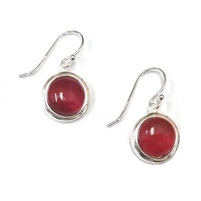 Sterling Silver Earring 13mm Round Slight Dome Carnelian