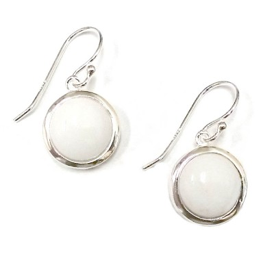 Sterling Silver Earring 13mm Round Slight Dome White Agate