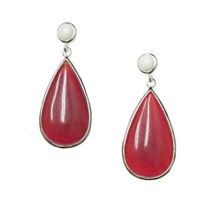 SS Earring Round White Agate Top With Carnelian, Multicolor