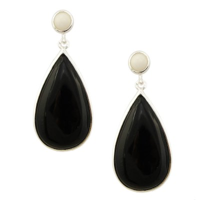 Sterling Silver Earring Round White Agate Top with Onyx Teardro