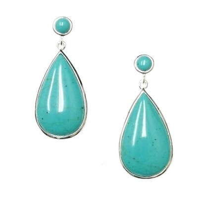 SS Earring Recon. Turquoise Round Top & Teardrop, Multicolor