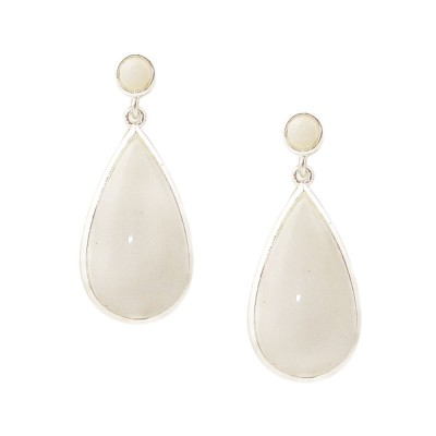 Sterling Silver Earring White Agate Round Top & Teardrop