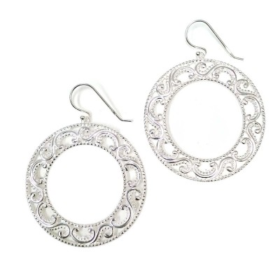 SS Earring 39Mm Open Circle With Filigree Around, Silver