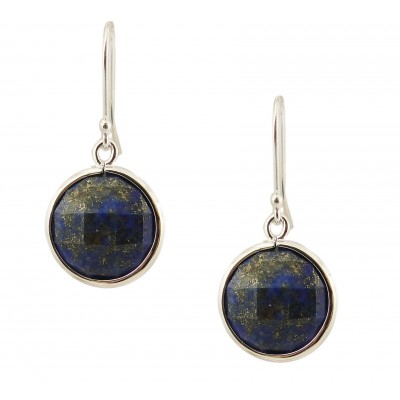Sterling Silver Earring 16mm Round Chess Cut Blue Lapis Danglin