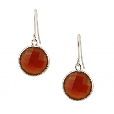 Sterling Silver Earring 16mm Round Chess Cut Red Agate Dangling
