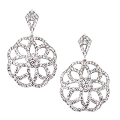 Sterling Silver Earring Clear Cubic Zirconia Oval with Flower Pattern