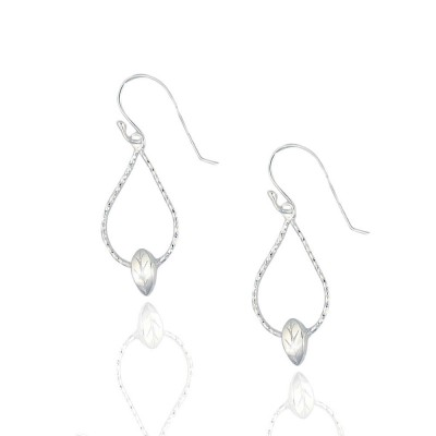 Sterling Silver Earring Diamond Cut Chain Teardrop Puffy Leaf