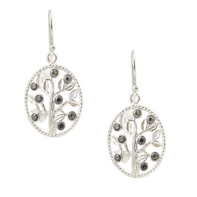 SS Earring Mystic Topaz Cz Tree With Leaves, Silver