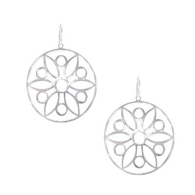 SS Earring 39Mm Open Circle With Flower And Circle, Silver