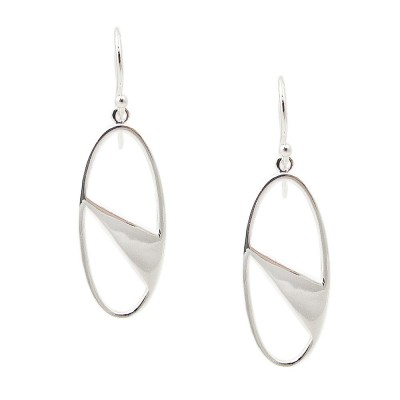 SS Earring Open Oval With Triangle Shaped Silver, Silver