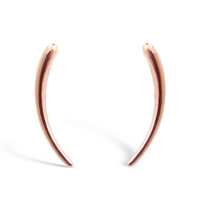 STERLING SILVER EARRING ACENDING CUVY LINE WITH HOOK-ROSE GOLD