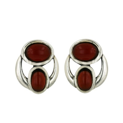 Sterling Silver Earring with 2 Pcs Oval Carnelian