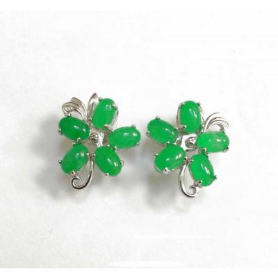 Sterling Silver Earring Jade 6 Pcs +Leaves