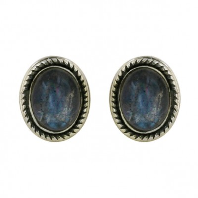 Sterling Silver Earring Oval Cabochon Geniue Labrodrite Post