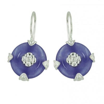 Sterling Silver Earring Hoop Doughnut with Silver Flower Cntr