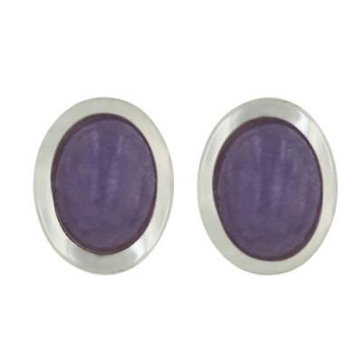 Sterling Silver Earring Oval P. Jade Stud