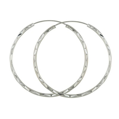 Sterling Silver Earring Hoop Round 2X45mm Dimond Cut (Anti-Tarnish