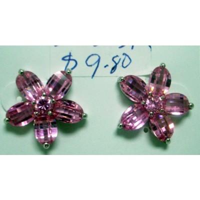 Sterling Silver Earring Flower 5 Petals Checkerboard Cut Pink Cubic Zirconia